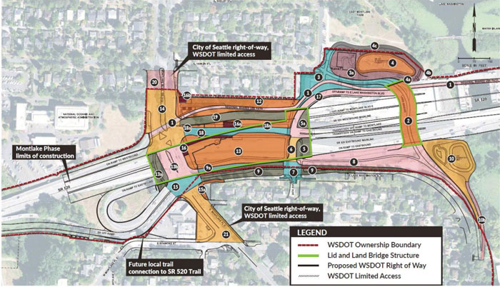 Image courtesy of WSDOT: This map outlines the city and state's responsibilities following completion of the Montlake Phase of the SR 520 Bridge Replacement and HOV Project.