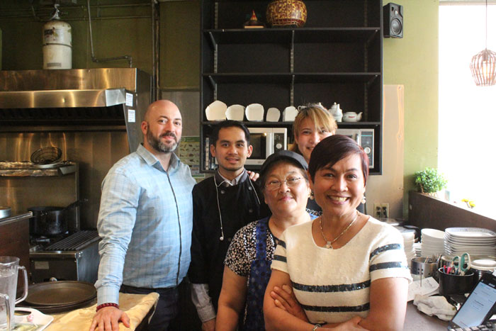 Sam Alameddine with sous chef Tuk, server Jeef, chef Bang-Orn and co-owner Duangchai 'Mind' Stantus.