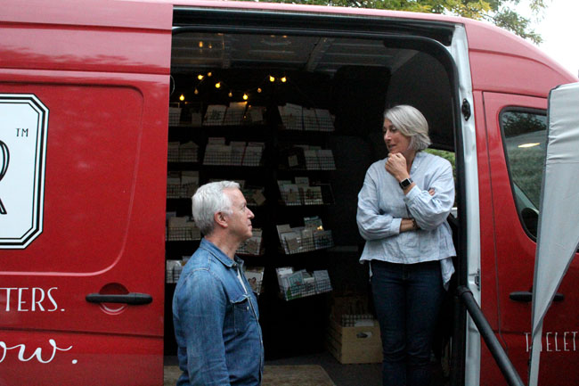 The Letter Farmer owner Rachel Brandzel Weil stands in her mobile stationery business.