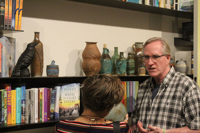Sculptor Jon Anderson talks about his pieces on display at Madison Books.