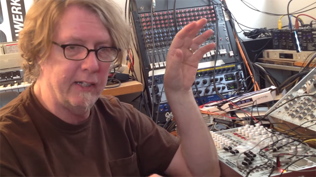 Husted discusses a synthesizer he's working on in a YouTube video posted by his assembly company, Synthworks.