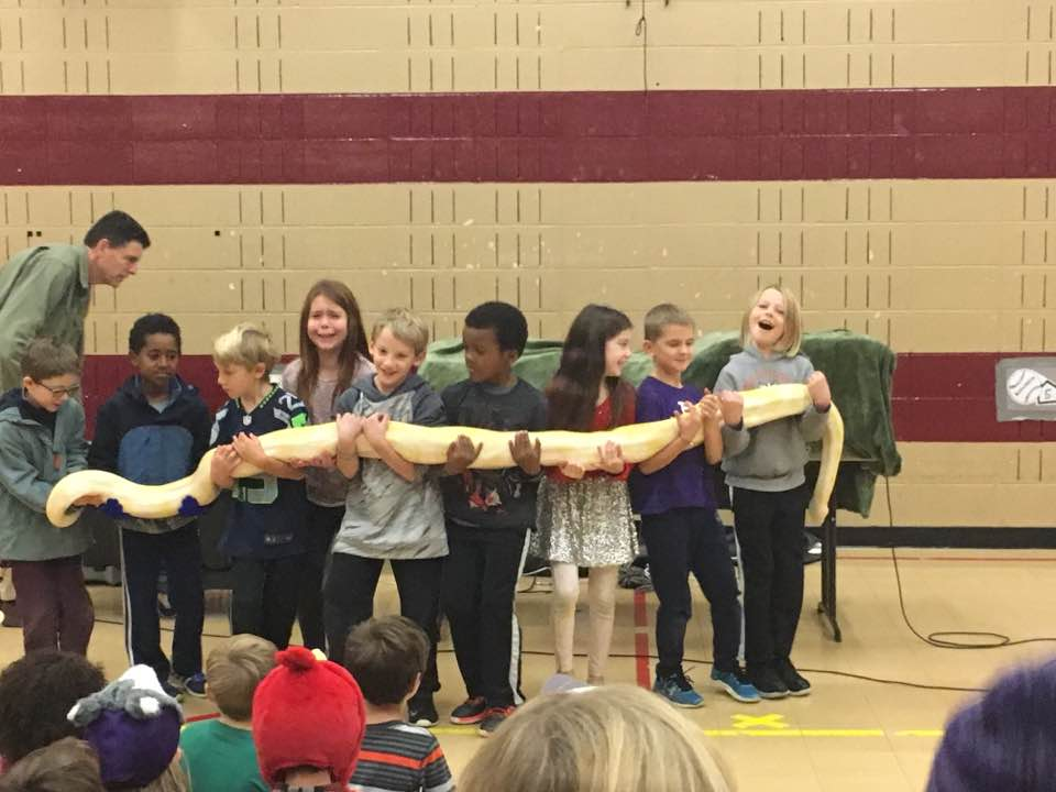 "Second-grade students lend a hand to hold the ""man-eating snake,"" brought to McGilvra during a Reptile Man assembly, a reward to kids for meeting their FunDrive goal. 