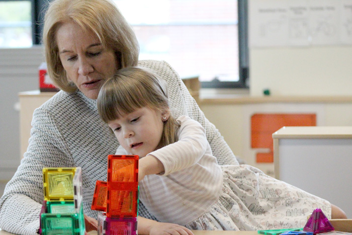 Photos by Brandon Macz: Seattle Mayor Jenny Durkan plays with blocks at the Miller Annex Preschool before speaking about her education levy plan at a press conference on Wednesday, April 18.